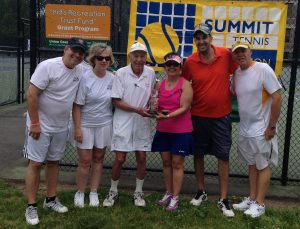 Members of NPTA & STA flank Dick Walther at the 2016 Walther Cup Tournament